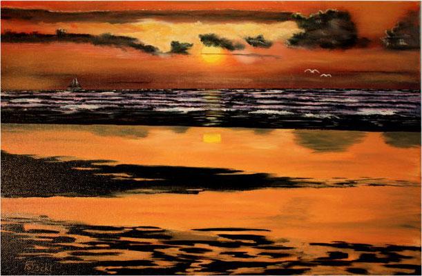 Nr.79 Sonnenuntergang bei Borkum. Format 40x60cm Breitkeilrahmen