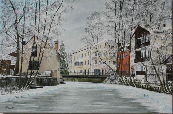 Nr.188 Dorfen, Isen bei der Soafabrücke. Format 60x40cm
