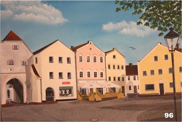 Nr.96 Dorfen, Altöttinger Tor mit Cafe am Marktplatz. Format 30x40cm