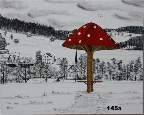 Nr.145a Dorfener Schwammerl m. Lindumer Kircherl. Format 40x50cm Breitkeilrahmen