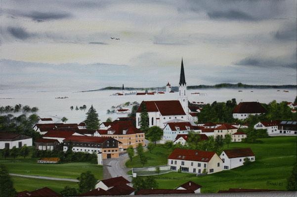 Nr.189 Blick von Asen über Kirchdorf auf das neblige Haag. Format 60x40cm