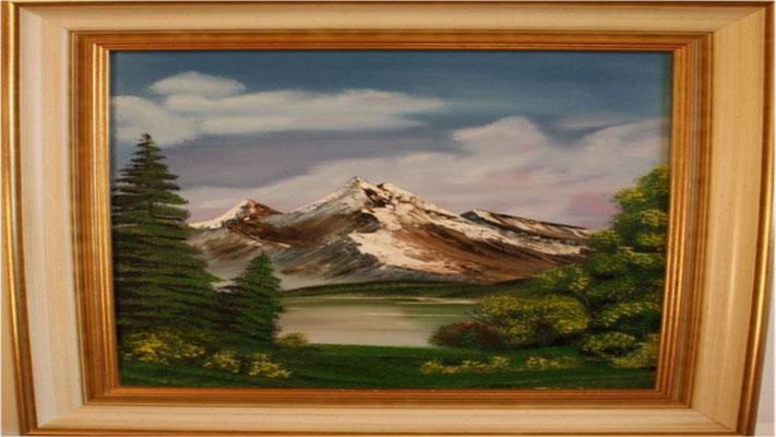 Nr.5 Berg mit See im Sommer. Format 40x50cm