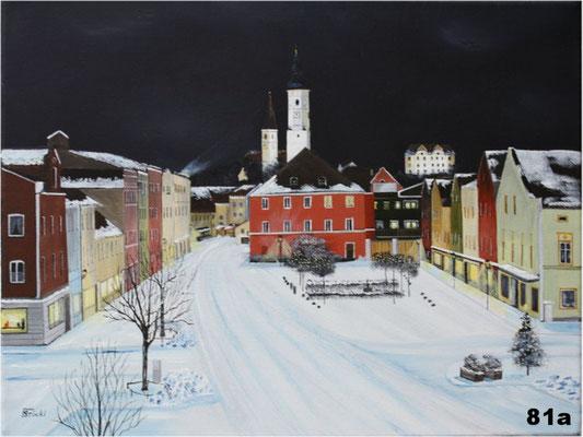 Nr.81a Dorfen Rathausplatz im Winter. Format 30x40cm
