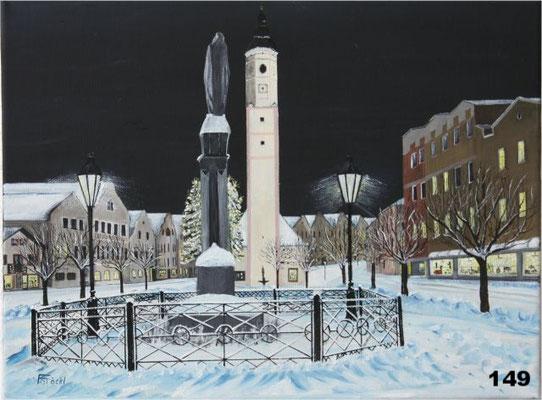 Nr.149 Dorfen, Winterlicher Marienplatz. Format 30x40cm