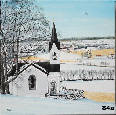 Nr.84a Andre-Bauern-Kapelle mit Blick nach Dorfen. Format 40x40cm