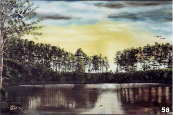 Nr.58 Abenddämmerung am Altensee. Format 40x60cm