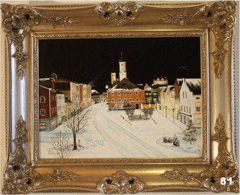 Nr.81 Dorfen Rathausplatz im Winter. Format 30x40cm