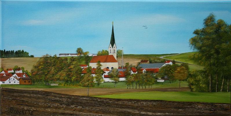 Nr.174 Schwindkirchen im Herbst südöstl. Blick. Format 30x60cm  Breitkeilrahmen