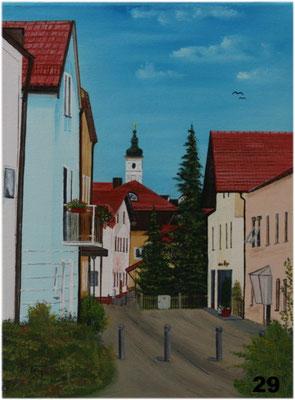 Nr.29 Blick vom Bahnweg auf Dorfener Marktkirche. Format 30x40cm