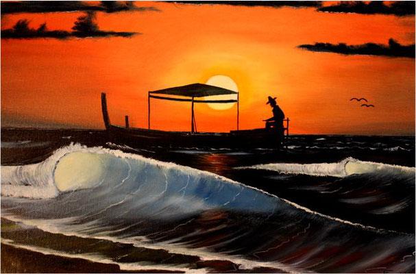 Nr.87 Fischerboot im Sonnenuntergang. Format 40x60cm Breitkeilrahmen