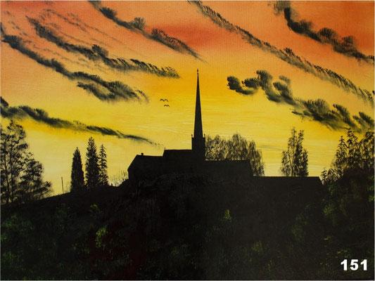 Nr.151 Abendlicht über Oberdorfen. Format 30x60cm