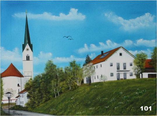 Nr.101 Schwindkirchen Kirche und Anwesen von Meier. Format 30x40cm