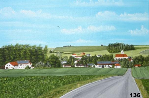 Nr.136 Steinberg mit Schwindkirchen vor dem Autobahnbau. Format 40x60cm