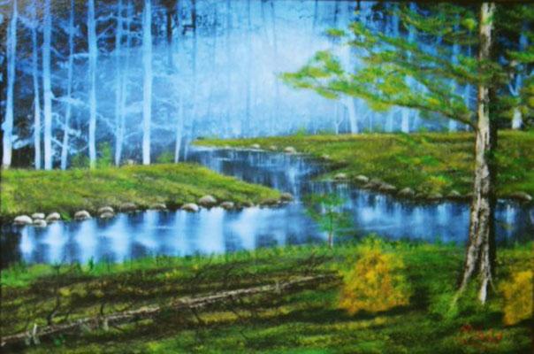 Nr.65 Waldwiese mit Bach. Format 40x60cm