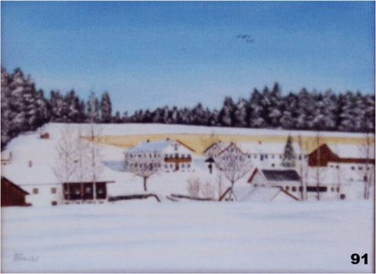 Nr.91 Winter in Strass bei Schwindkirchen. Format 30x40cm