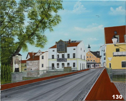 Nr.130 Dorfen, Wesener Tor mit Nepomuk. Format 40x50cm