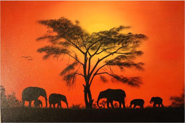 Nr.93 Elefanten auf Schattensuche. Format 50x70cm Breitkeilrahmen
