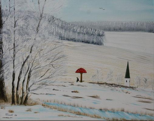 Nr.145h Wintertag am Schwammerl. Format 50x40cm
