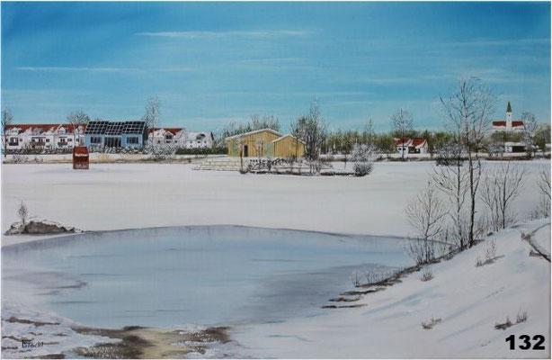Nr.132 Dorfen Feb.2010 Rückhaltebecken mit Weissbierhütte. Format 40x60cm