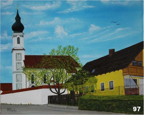 Nr.97 Landersdorf mit Kirche. Format 40x50cm