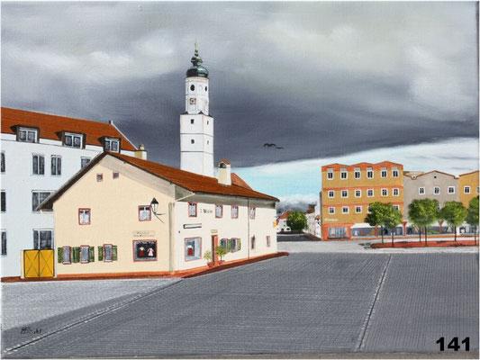 Nr.141 Dorfen, Brothaus und Marktkirche. Format 30x40cm