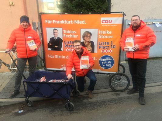 Tour durch Alt Nied am 19.02. (v.l.: Torsten Gleich, Tobias Fechler und Andreas Welcher).