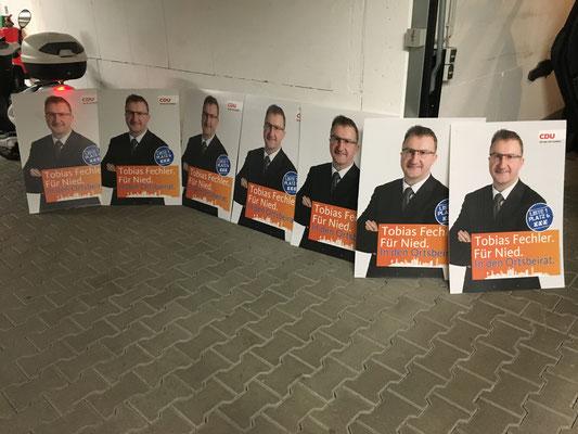 Hohlkammerplakate von Tobias Fechler sind vorbereitet.