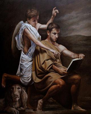 El evangelista San Marcos recibiendo la inspiración. Pintura religiosa
