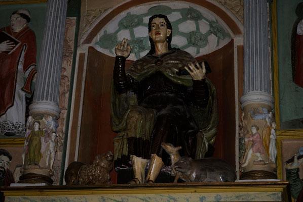 imagen de San Mamés en la iglesia y pueblo del mismo nombre, en el Valle de Aras (Cantabria)