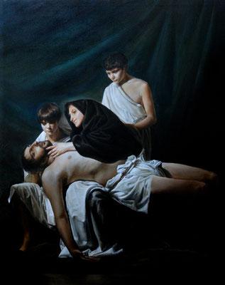Pintura religiosa. La Piedad. Óleo sobre lienzo. 162 x130 cms.