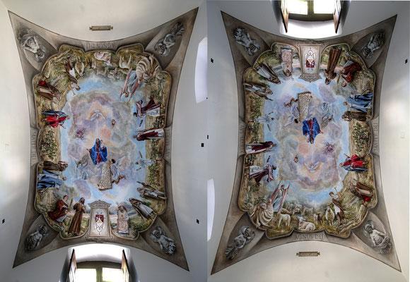 Foto doble de la pintura de la bóveda.
