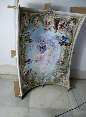Maqueta previa de la bóveda con su boceto