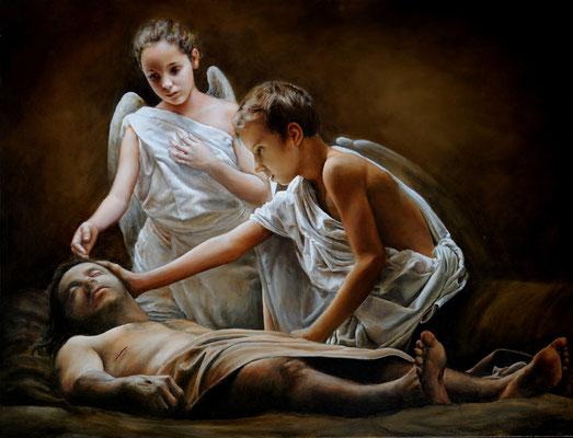Cristo velado por dos ángeles. Pintura religiosa