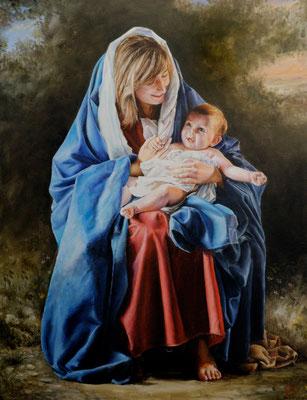 La Virgen y el Niño. Pintura religiosa.