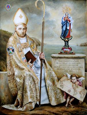 """Retrato del obispo Fray Joaquín Encabo, agustino recoleto. En este retrato se ha empleado una técnica mixta temple-óleo.   Incluye la imagen """"oficial"""" de la Virgen de Sopetrán"""