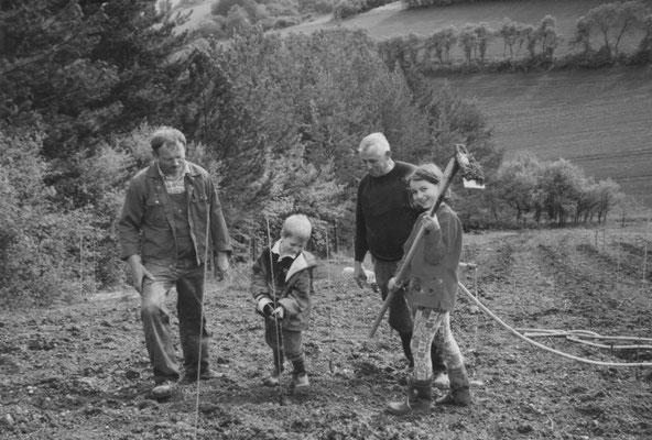 Gemeinsam beim Angießen der Reben im Weinberg