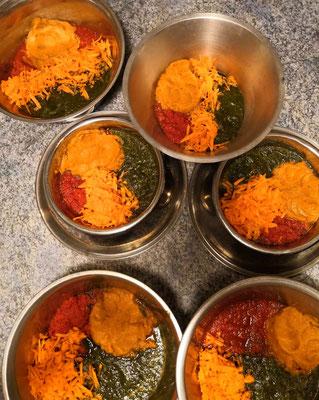 Püriertes Gemüse: Süßkartoffel, Karotte, Rote Beete, Salate