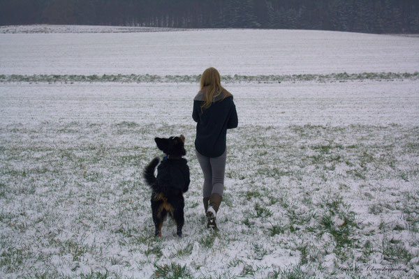 Athena mit ihrem Frauchen alleine unterwegs :-)