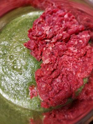 Grüner Smoothie, Rindfleisch (gewolft)