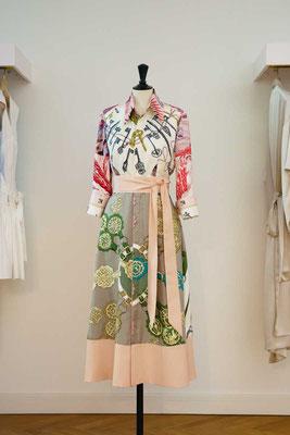 Silk Shirt Dress made from 4 vintage silk scarves