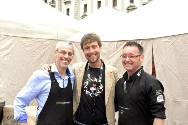 Matteo Castelnuovo - Responsable café la Tosteria Suisse ; Andreij Godina ; Andrea Guerra