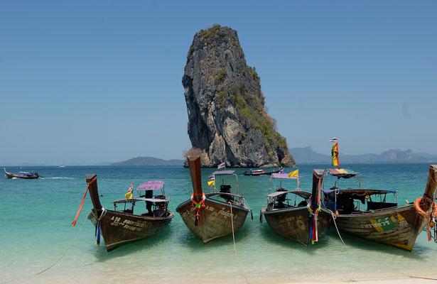 Thailande, îles, plages, bateaux longues queues