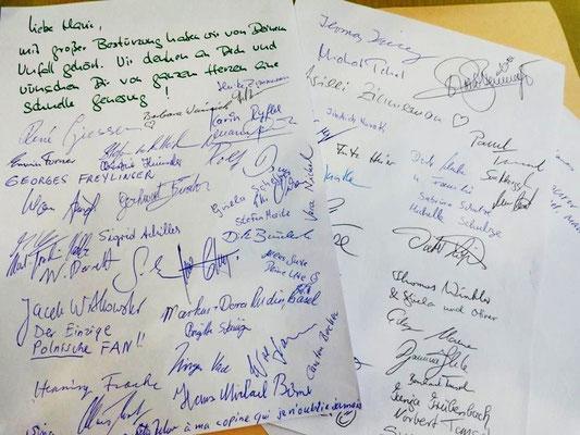 Brief an Marie Versini, die wegen eines Sturzes nicht kommen konnte