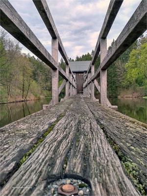 der Steg ... vom Striegelhaus am Carler Teich