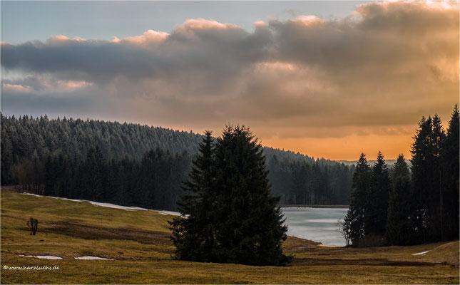 immerhin, kein neuer Schnee .... Blick auf den Auerhahn Teich