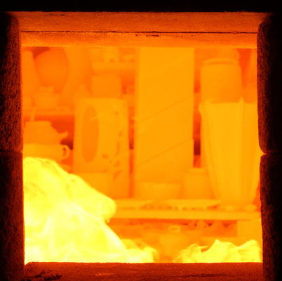 L'intérieur d'un four Anagama ... à 1250 degrés !