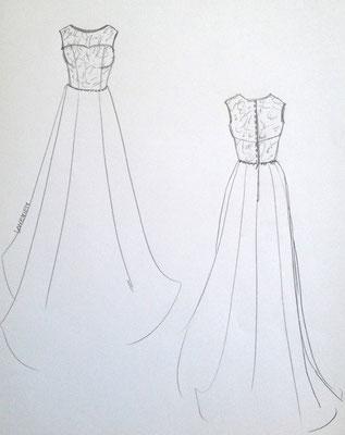 Skizze individuelles Brautkleid Mainz Atelier VON EIDEN