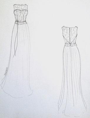 Skizze einzigartiges Brautkleid Frankfurt Atelier VON EIDEN