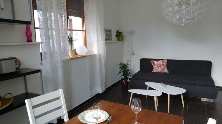 Wohnzimmer mit Schlafkautsch im Erdgeschoss