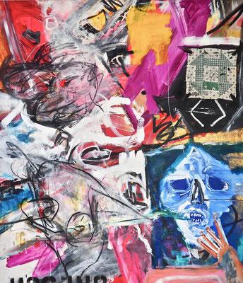 CELEBRATORY MOOD, 150x130 cm, acrylic, oil, fabric on canvas, New York, 2017, Photo Reinhold Ponesch ©